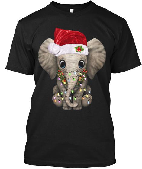 Cute Elephant Santa Hat Christmas Lights Black T-Shirt Front