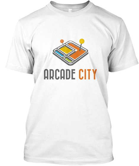 Arcade City  White T-Shirt Front