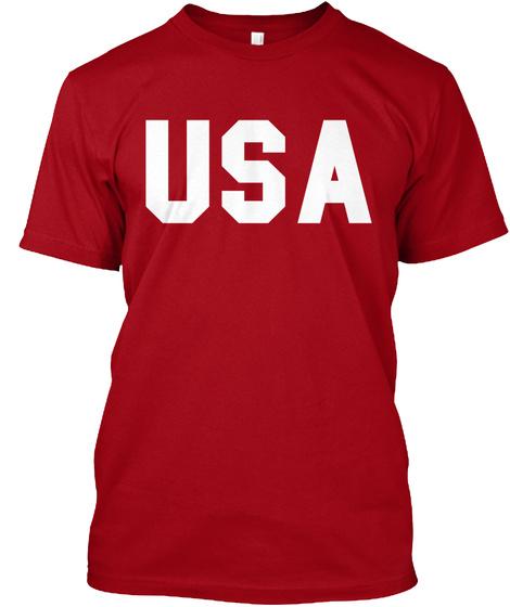 Usa Deep Red Kaos Front
