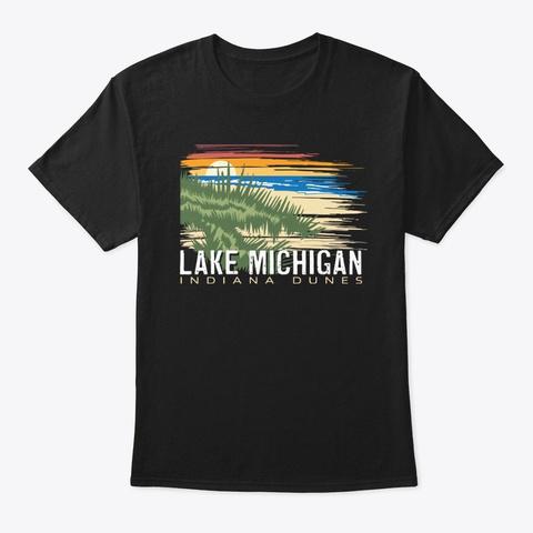 Michigan Lake Dunes Beach Black T-Shirt Front