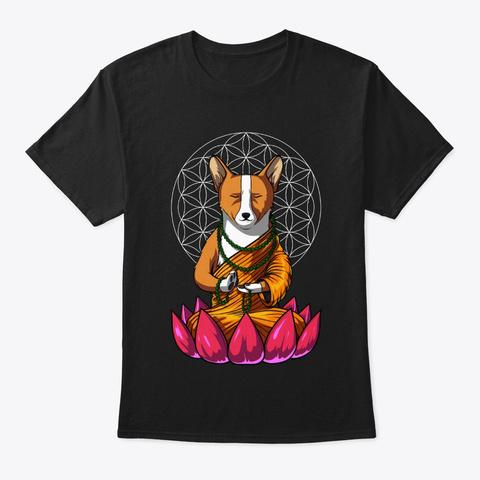 Corgi Zen Yoga Black T-Shirt Front