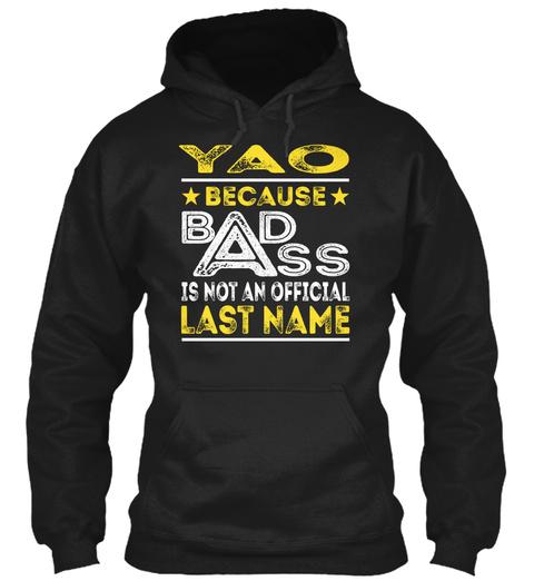 Yao   Badass Name Shirts Black T-Shirt Front