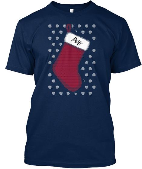 Porte Christmas Stocking Navy T-Shirt Front