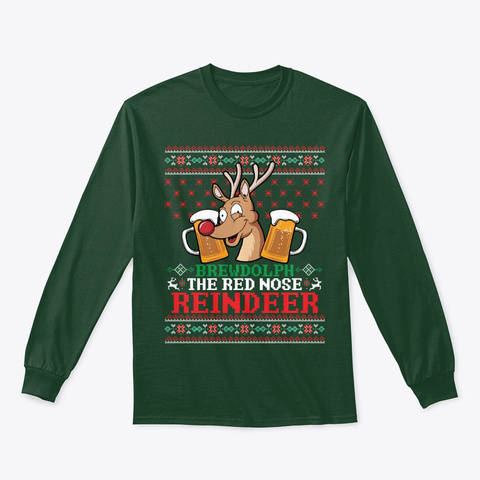 Sweater Funny Beer Drinking Reindeer Forest Green T-Shirt Front