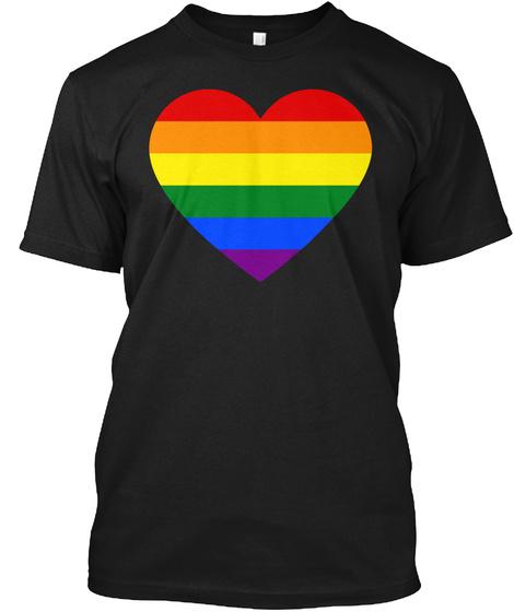 Rainbow Heart Lesbian Pride Lgbt Pride G Black T-Shirt Front