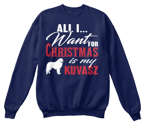 Kuvasz Ugly Christmas Sweater Navy  T-Shirt Front
