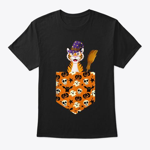 Cute Tiger Pumkin Pocket Halloween Costu Black T-Shirt Front