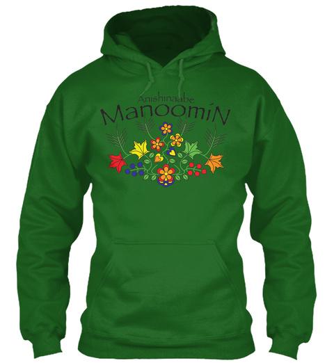 """Anishinaabe Manoomin Anishinaabe  Manoomin """"Ojibwe Wildrice"""" Irish Green T-Shirt Front"""