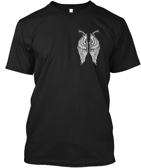 Angel Wings And Revolvers Black T-Shirt Front