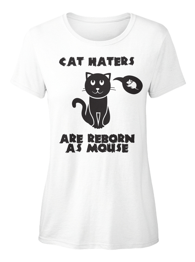 Cat-Haters-Are-Reborn-As-Mouse-T-shirt-Elegant-pour-Femme