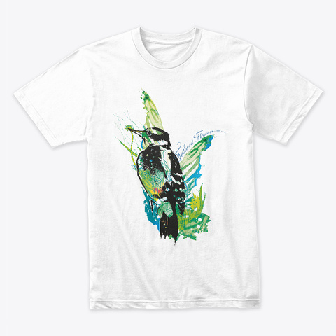 Feathered Flowers White T-Shirt Front