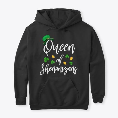 Queen Of Shenanigans Irish T Shirt Black T-Shirt Front