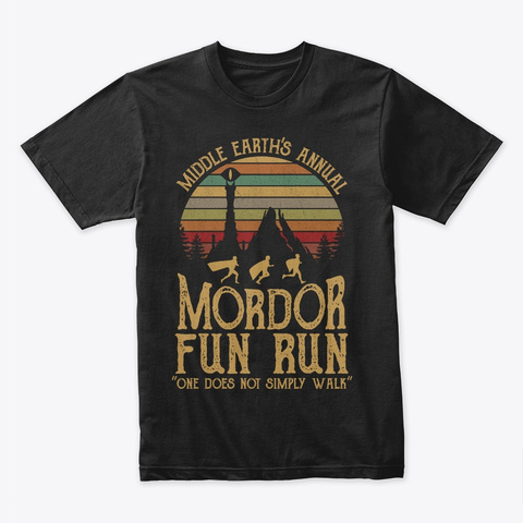 Middle Earth's Annual   Mordor Fun Run Black T-Shirt Front