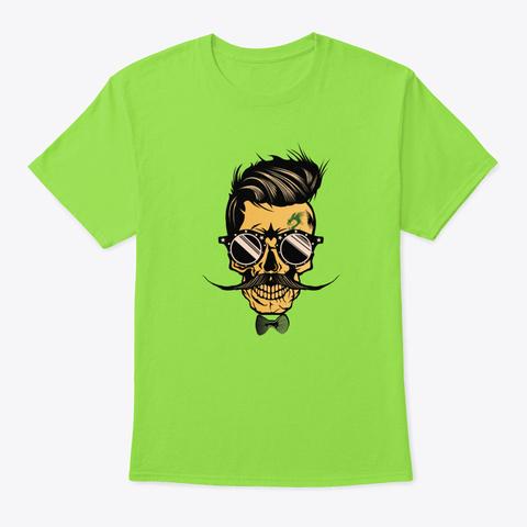Spider   Skull Bearded Hipster Mustache Lime T-Shirt Front