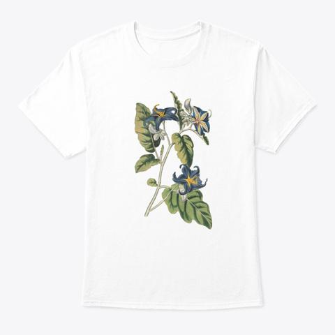 Beautiful Vintage Botanical White T-Shirt Front