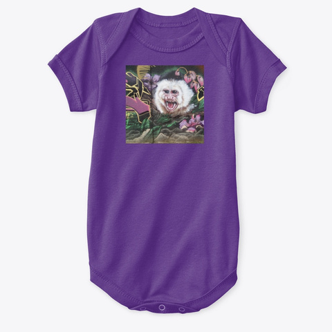 Monkey Chimp Painting Wall Art Purple T-Shirt Front
