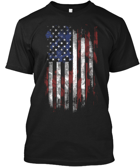 American Flag Black T-Shirt Front