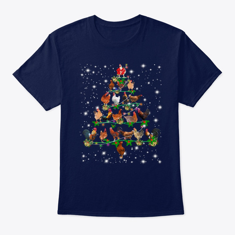 Funny Chickens Christmas Tree Tee Navy T-Shirt Front