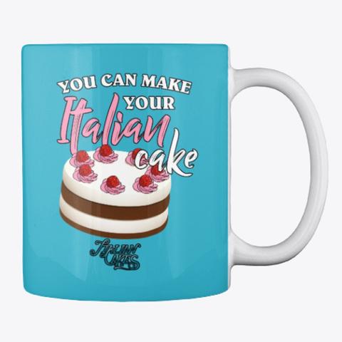 Italian Cake Design Style Mug Turquoise T-Shirt Back