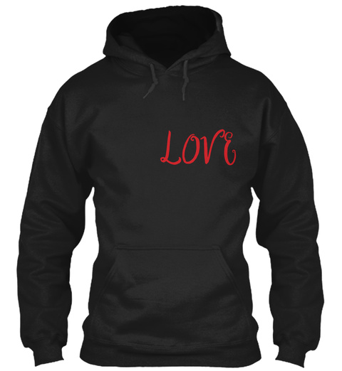 Love Red Text Hoodie Black T-Shirt Front