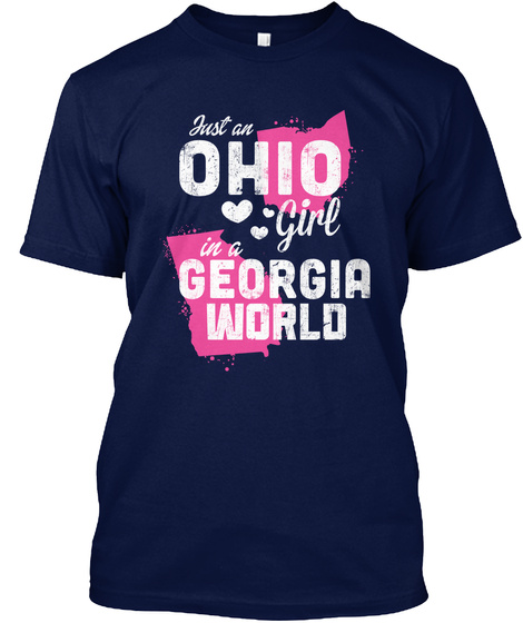 Just An Ohio Girl In A Georgia World Navy T-Shirt Front