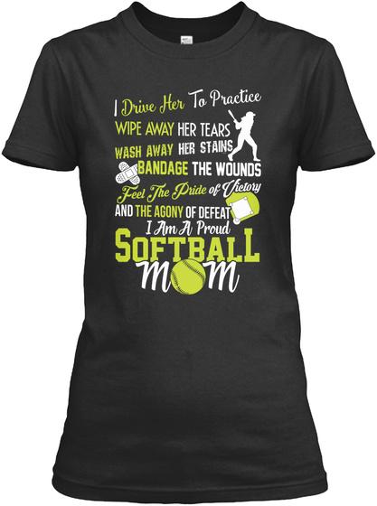 Proud Softball Mom Black Women's T-Shirt Front