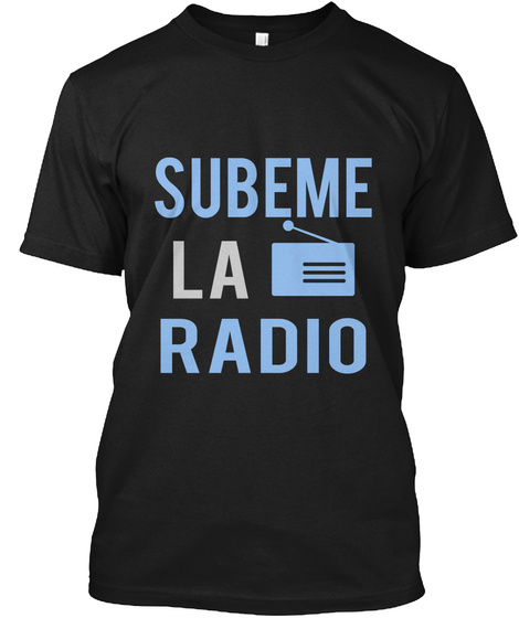 Subeme La Radio Black T-Shirt Front