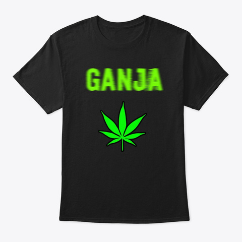 Blurry And Fading Ganja Weed  Black T-Shirt Front