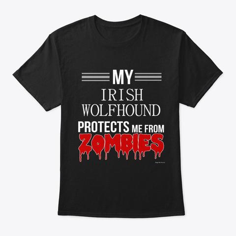 Halloween Zombie Irish Wolfhound Black T-Shirt Front