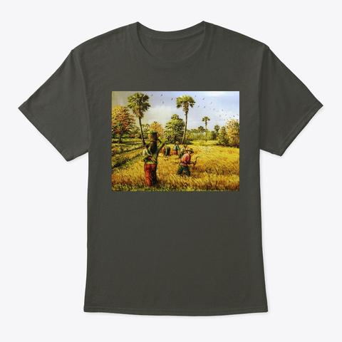 Rice Paddy Field, Rice Farm Harvesting  Smoke Gray T-Shirt Front