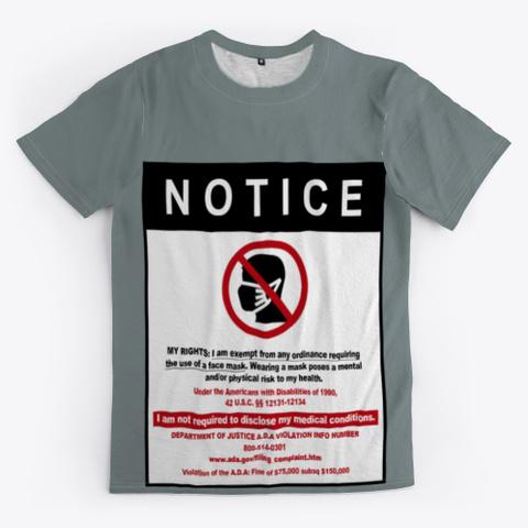 No Mask Ada Law (My Rights) Medium Grey T-Shirt Front