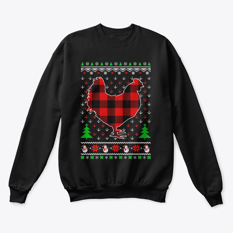 Funny Holiday Chicken Red Plaid Ugly Black T-Shirt Front