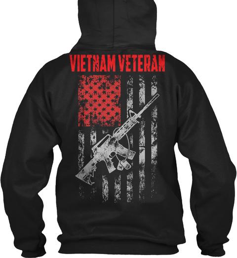 Vietnam Veteran Flag Of American Black T-Shirt Back