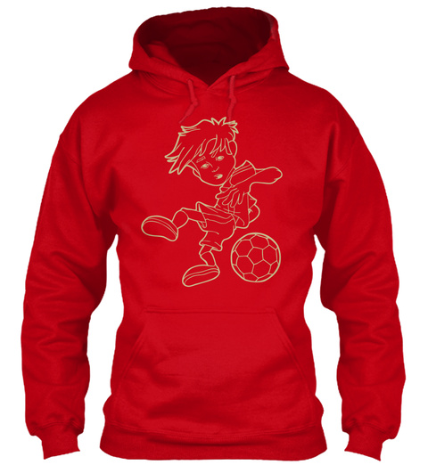 Soccer Player Cartoon Red T-Shirt Front