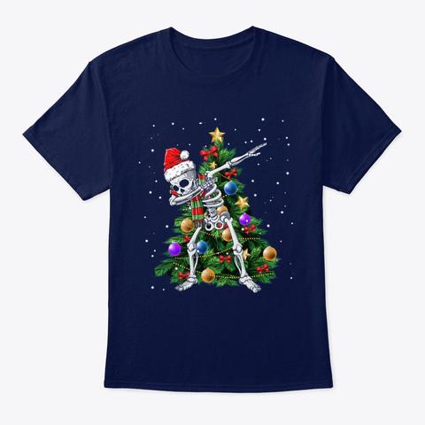 Dabbing Skeleton Santa Christmas Tree Navy T-Shirt Front