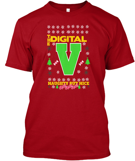 The Digital V Naugity But Nice Deep Red T-Shirt Front