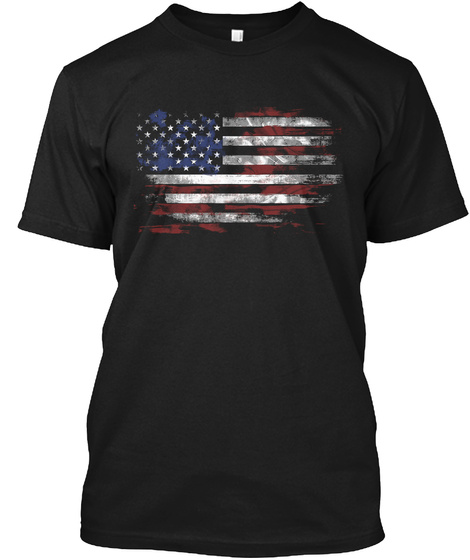 American Flag Basic Black T-Shirt Front