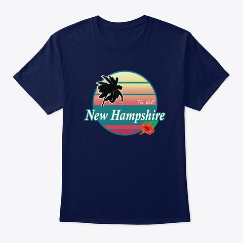 The Wall New Hampshire Surfing Beach Navy T-Shirt Front