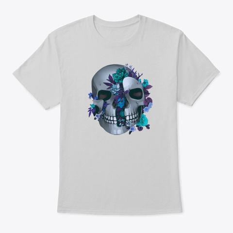 Floral Skull Light Steel T-Shirt Front