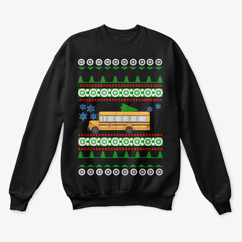 School Bus Driver Ugly Christmas Shirt Black T-Shirt Front