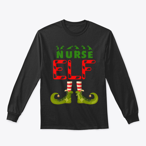 Nurse Elf Funny Group Matching Family Ch Black T-Shirt Front