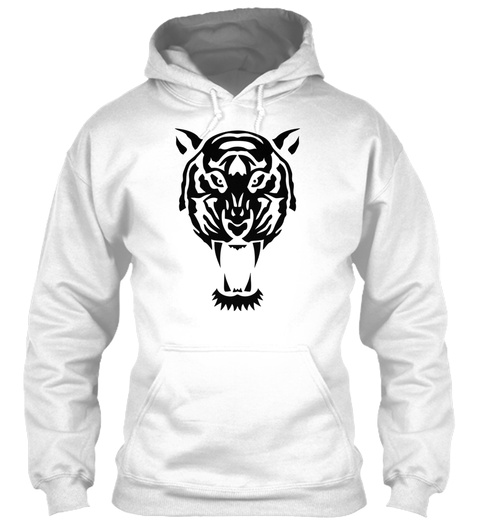 Tiger Tribal Wild Animal 1106 White T-Shirt Front