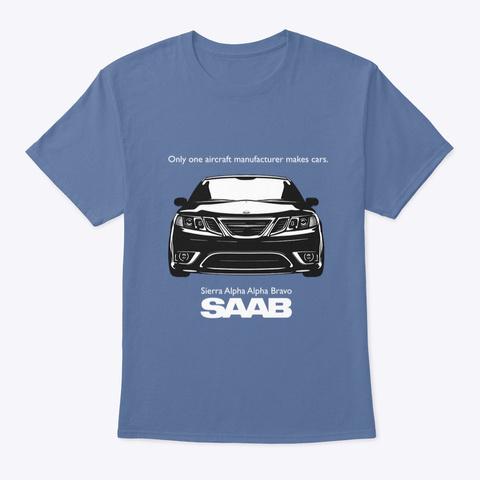 Sierra Alpha Alpha Bravo   Saab Denim Blue T-Shirt Front