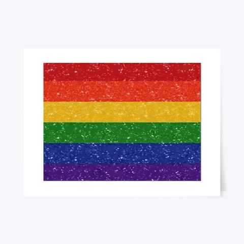 Glitter Rainbow Pride Flag  White T-Shirt Front