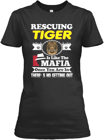 I'm In Love With Tiger Black T-Shirt Front