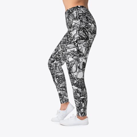 Leaf Scratch Printed Leggings For Women Standard T-Shirt Left