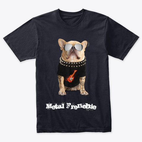 Metal Frenchie Vintage Navy T-Shirt Front