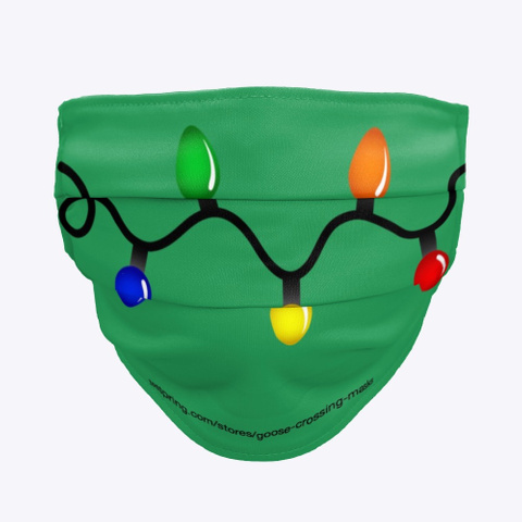 Retro Christmas Lights  Face Mask  Green T-Shirt Front