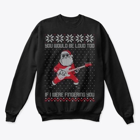 Bassist Santa Ugly Christmas Sweater Black T-Shirt Front
