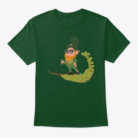 St. Patrick's Day Leprechaun Surfer Deep Forest T-Shirt Front